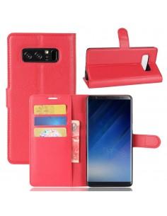 Etui Samsung portefeuille pour Galaxy Note 8 avec rangements pour cartes - Litchi