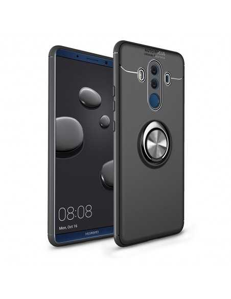 Coque silicone Huawei Mate 10 Pro avec anneau en metal Noir