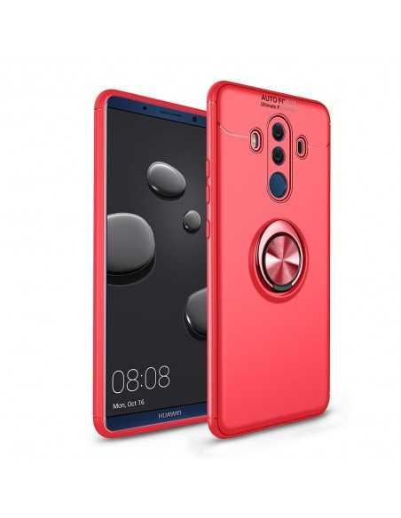 Coque silicone Huawei Mate 10 Pro avec anneau en metal Rouge