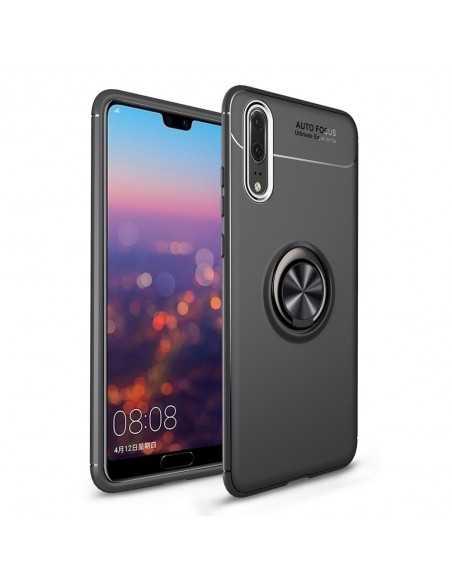 Coque silicone Huawei P20 Pro avec anneau en metal Noir