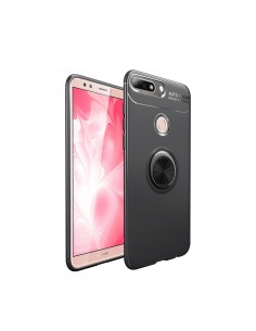 Coque silicone pour Huawei Honor 7C / Enjoy 8 avec anneau en metal
