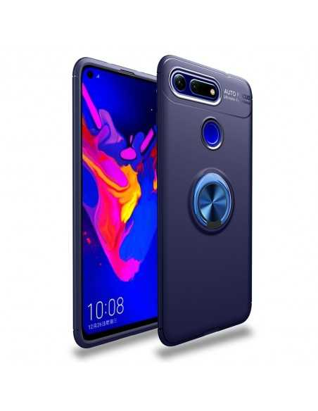 Coque silicone Huawei Honor View 20 et Huawei V20 avec anneau en metal Bleu