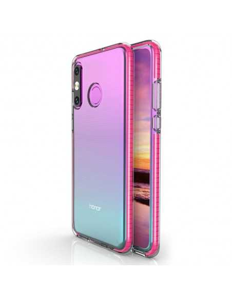 Coque silicone transparent Huawei P30 Lite avec bords colorés Fushia