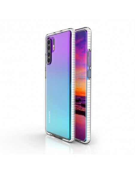 Coque Silicone transparent Huawei P30 pro avec bords colorés Blanc