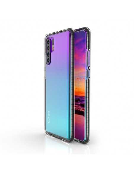 Coque Silicone transparent Huawei P30 pro avec bords colorés Noir