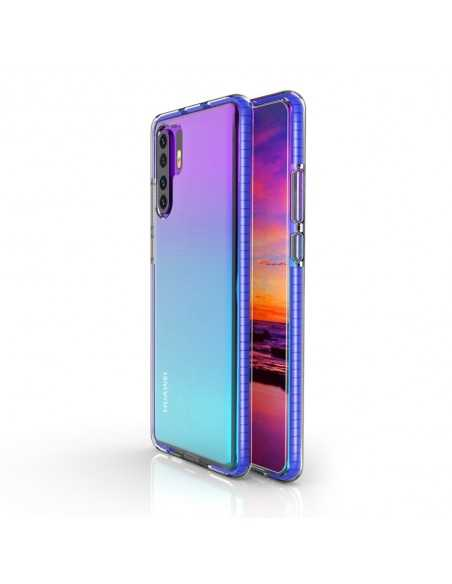 Coque Silicone transparent Huawei P30 pro avec bords colorés Bleu