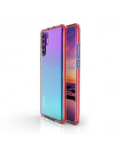 Coque Silicone transparent Huawei P30 pro avec bords colorés Rouge