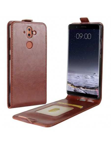 Etui vertical Nokia 8 Aspect cuir Crazy Horse Marron