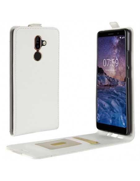 Etui vertical Nokia 7 Plus Simili Cuir Blanc