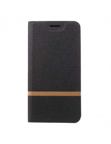 Etui portefeuille Nokia 8 Aspect tissus Noir