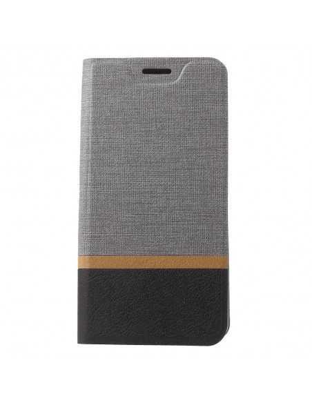 Etui portefeuille Nokia 8 Aspect tissus Gris