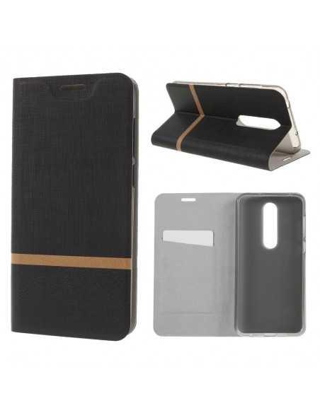 Etui portefeuille Nokia 6.1 Plus et X6 2018 Aspect tissus Noir