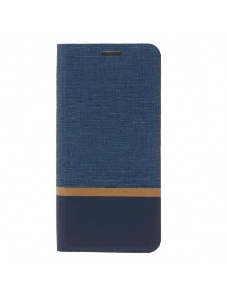 Etui portefeuille Nokia 6.1 Plus et X6 2018 Aspect tissus Bleu