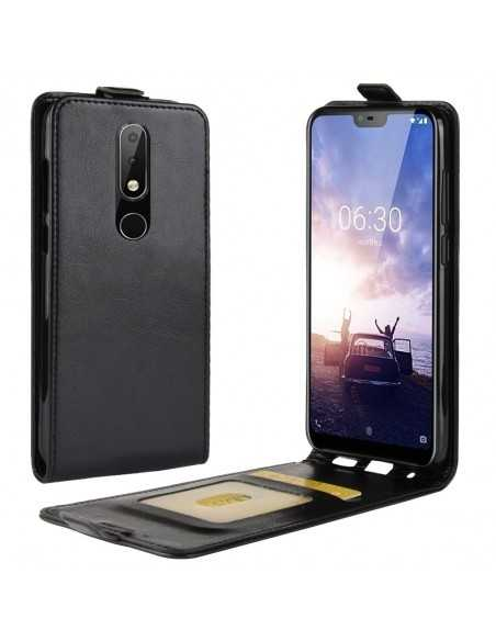 Etui vertical Nokia 5.1 Plus et Nokie X5 Crazy Horse Noir