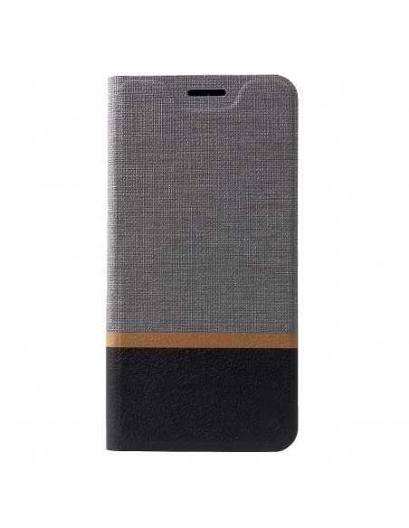 Etui portefeuille Nokia 7.1 avec rangement cartes Aspect tissus Gris
