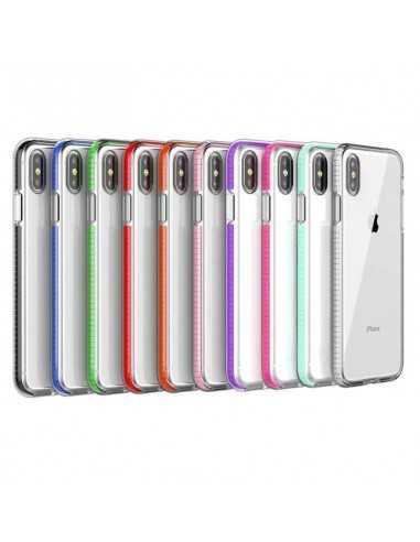 Coque silicone transparente iPhone XR aux cotés renforcés noir