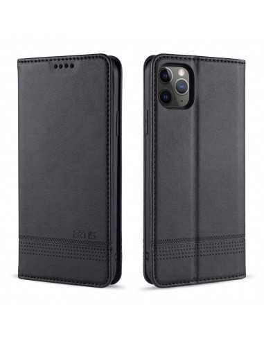 Etui portefeuille iPhone 12 pro et 12 Simili Cuir AZNS - Noir