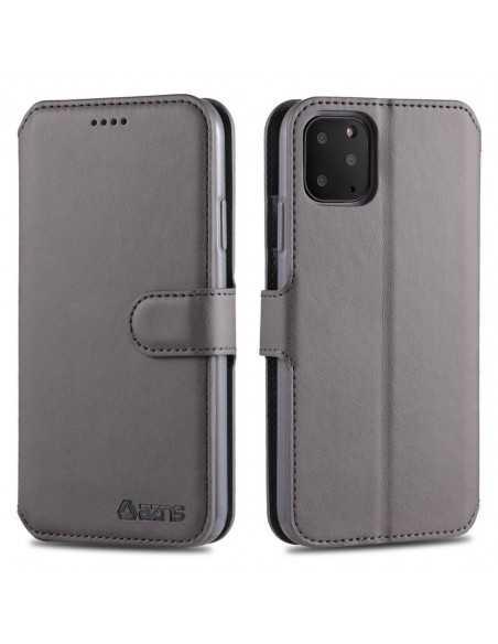 Etui portefeuille iPhone 12 et 12 Pro avec Rabat AZNS - Gris