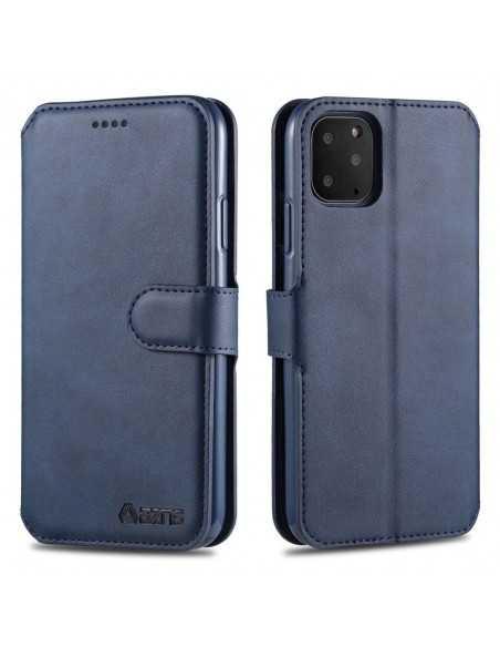Etui portefeuille iPhone 12 et 12 Pro avec Rabat AZNS - Bleu foncé